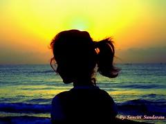 Sea,and  Sun and She and Silhoutte. (Sunciti _ Sundaram's Images + Messages) Tags: sun color sunrise seaside searchthebest 1001nights soe silhoutte sow bestshot blueribbonwinner 10faves 5photosaday goldenglobeawards distellery abigfave anawesomeshot colorphotoaward impressedbeauty aplusphoto agradephoto flickraward diamondclassphotgrapher inspirationhappiness concordians goldstaraward brilliantphotography overtheshot allaboutsun elitephotgraphy artofimages