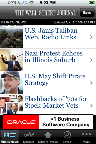 WSJ iPhone app - main screen