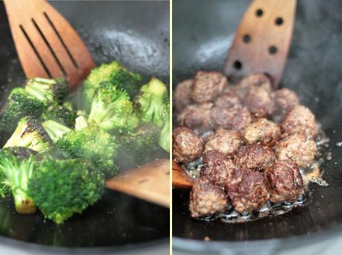 Brocoli & boulettes sautés