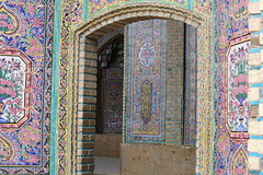 Nasir-ol Molk Mosque Shiraz (detengase) Tags: travel art tile eos persian asia asien pattern iran mosaic interior muslim islam fliesen middleeast persia mosque carving ceiling tiles shiraz province islamic mosaik shiite qajar fars masjed moschee nasirolmolk tileworks persien schiraz  5dmkii