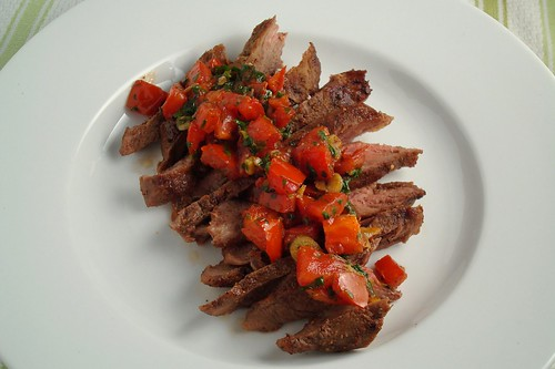 Steak with Tomato and Cilantro Sauce