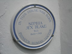 Photo of Sophia Jex-Blake white plaque