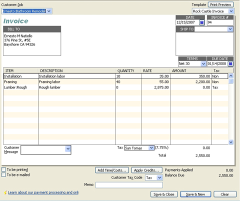 QuickBooks For Contractors Progress Invoicing AllBusinesscom - Final invoice template