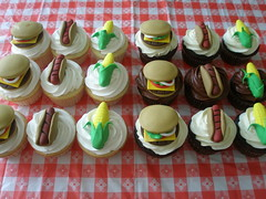 BBQ Cupcakes (Oh, Sugar! (Destini Hinkle)) Tags: cookies cupcakes picnic bbq grill watermelon burgers hotdogs kidsparties ohsugar cakesbydestini
