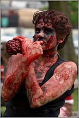 """You're next"" (eraut) Tags: female blood downtown dirty brains tanktop undead bloody brunette zombies staring filthy flickrmeet guts columbusoh livingdead goodalepark inthezone zombiewalk sigma70200mmf28 eos400d canondigitalrebelxti overtheexcellence coveredinblood shootingwithcroz1007"