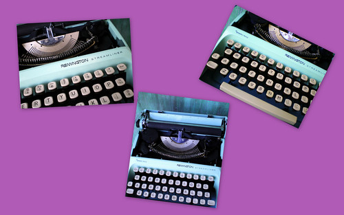 Robin's Egg Blue Manual Typewriter by Remington (Collage)