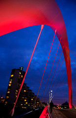 Long Day's Journey into Night (Kenny Maths) Tags: lighting bridge blue red sky architecture river scotland clyde arch suspension glasgow arc squinty kennymathieson colorphotoaward