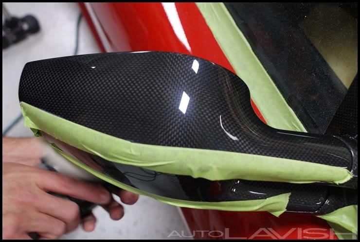 polishing carbon fiber ferrari mirrors