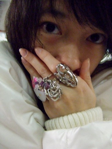 Forever 21 ring (R); metal rings, gift (C); Hello Kitty cupcake toy ring (L)