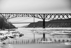 Mid-Hudson and Poughkeepsie Railroad Bridges (Katy Silberger) Tags: winter white black ice reflections hudsonriver reflexions poughkeepsieny nikond60 abigfave anawesomeshot walkwayoverthehudson
