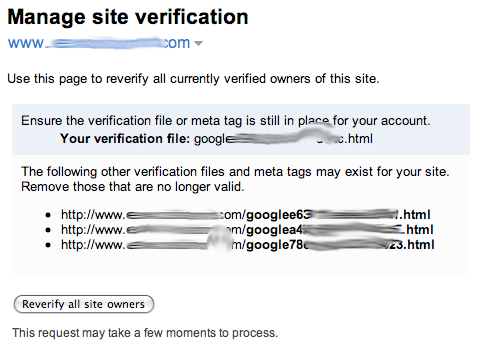 Google Webmaster Site Verification