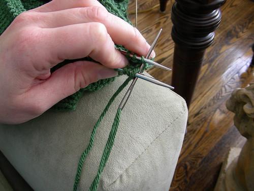 knit back stitch leave on needle