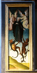 Xanten, Dom St. Victor, Antoniusaltar, shutter, detail (groenling) Tags: wood saint monster angel painting paint panel cathedral dom carving altar anthony devil nrw engel holz rheinland xanten stiftskirche teufel heilige antonius ungeheuer blemya victordom domstvictor antoniusaltar baegert