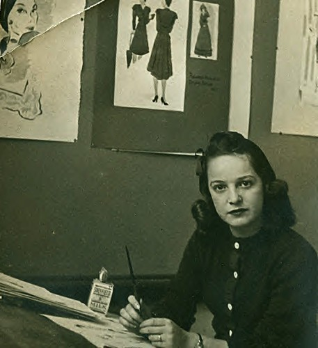 Florence Otway at the drawing board 1940s