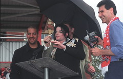 Photo of Michael Jackson RIP Fund Raising Event Focusing on Children with Aids at Exeter City St James Park Football Club June 14 2002 034ok with David Blaine and Uri Geller
