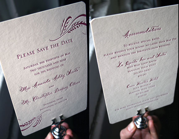 Double-sided letterpress save the date card - Haddington design - by Smock