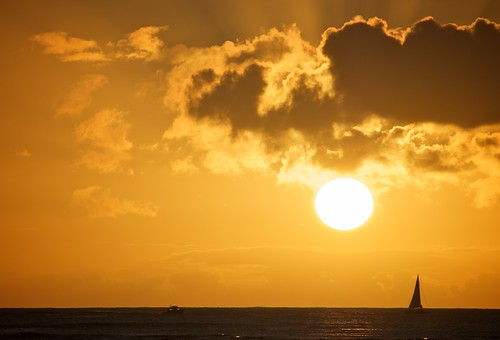 Hawaii Sailboat at Sunset