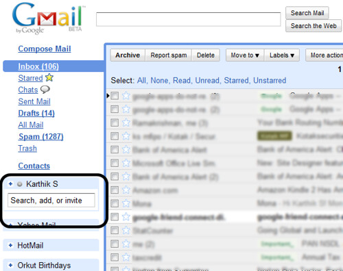 GMail contacts search