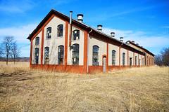 Railroad Red and Blue (Kansas Poetry (Patrick)) Tags: railroad building kansas flinthills interestingphotos