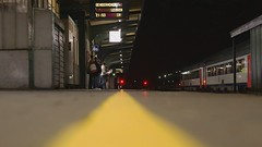 Gent Sint-Pieters - Platform 8b (HD) (ukaaa) Tags: hd highdefinition sintpieters timelapse video canoneos400d software station yellowline platform perron train trein animated time:hour=10pm ratseyeview low ground floor flat surface gent ghent bokeh dof depthoffield city urban night evening dark lights belgium belgi digital