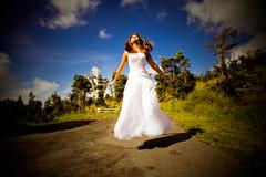 love held You there (SARA LEE) Tags: wedding light white girl hawaii jump jumping dress photoshoot bright flight surreal midair noon bigisland conceptual kona emotive 1185 kaloko sarahlee johnnyp legothenego vivantvie