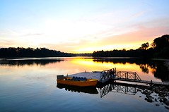 Calm (Trim Reaper) Tags: park bridge sunset water reflections boat nikon singapore reservoir tokina gb lower 116 peirce d90 1116mm garbongbisaya