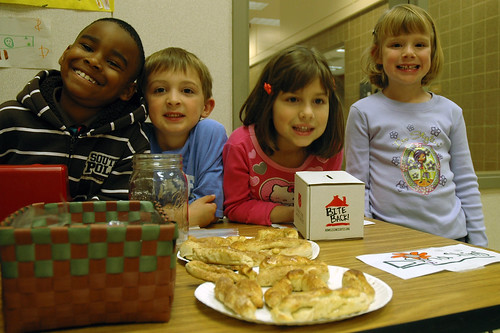 Kindergarteners from the Mary Castle Early Learning Center sell pretzels to help the homeless.