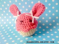 Pink Bunny With Bows Cupcake Amigurumi 1 (xelishacopeland) Tags: pink food cute rabbit bunny dessert diy sweet handmade crochet cupcake kawaii pastry amigurumi crocheted bows