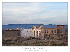 Ruins, Dawn, Rhyolite (G Dan Mitchell) Tags: california morning blue school light sky usa cloud mountains building abandoned window wall sunrise landscape dawn town nationalpark ruins desert nevada ghost scenic peak brush structure sage mining telescope wash valley deathvalley range crumbling filtered panamint amargosa induro rhyollite travelstock