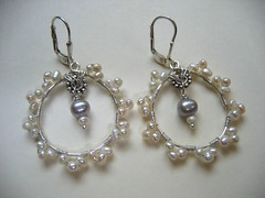 Wisteria Earrings...    sterling and pearls (staciegan) Tags: white handmade seed pearls daisy sterling earrings freshwater wirewrapped leverbacks spacercontempojewelryoriginalcustomorganichandmadedesign