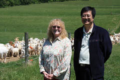Many Rocks Farm:  Jeanne Dietz-Band (L) and Dr. Jun Luo (R)