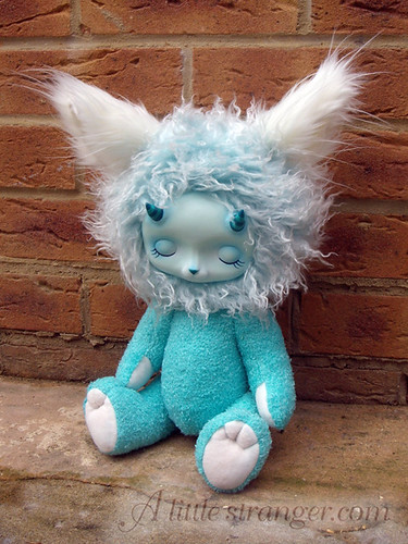 Turquoise sleepy monster