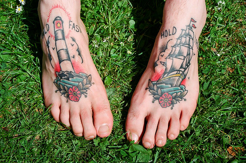 strange, crazy or simply unusual foot tattoo designs. Boats foot tattoo