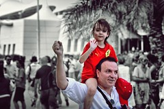 Go Ferrari (AlAmmari) Tags: portrait people white black cute girl hat sepia canon one bahrain kid support father go f1 ferrari fans internation circuit formula1 paddock april26        alammari   d450