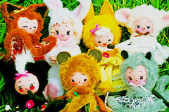 Fur Your Enjoyment! (boopsie.daisy) Tags: bear cute rabbit bunny bunnies nature grass animal animals cat vintage pose easter fur toys cub doll dolls sheep sweet handmade ooak inspired adorable kitty plush fox kawaii lamb critters creatures skunk fuzz boopsiedaisy