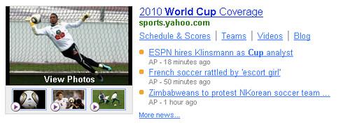 World Cup Yahoo Shortcut