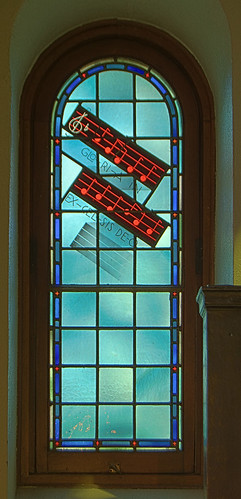 Immaculate Conception Roman Catholic Church, in Maplewood, Missouri, USA - stained glass window with Gloria music
