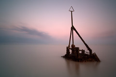 ----!- (Simon Rich Photography) Tags: uk longexposure sunset sea reflection clouds canon coast tide horizon groyne essex clacton windfarm martello tendring eos5d simonrich mrmonts simonrichphotography
