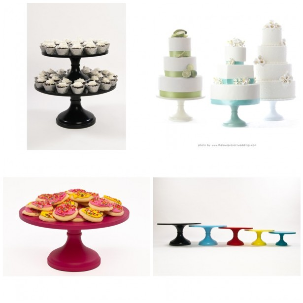 Colorful Wedding Cake Stands Add a pop of color to your wedding reception