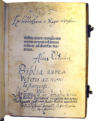 Title Page with Ownership Inscriptions from 'Distinctiones Exemplorum Veteris et Novi Testamenti'
