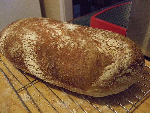 Cooked ciabatta loaf on a wire rack, with a deep golden brown crust and dusted with flour