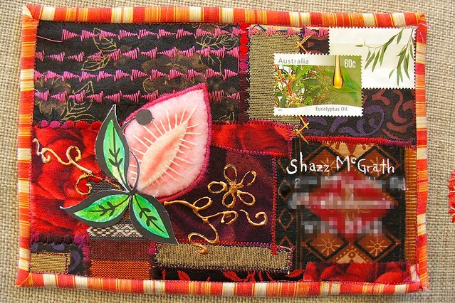fiery frustration: a fabric postcard