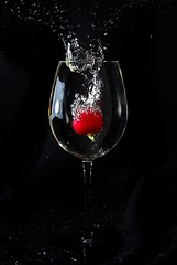 Droppable vegetable (Inge Pettersen) Tags: red green water glass blackbackground stem wine bubbles vegetable drop sharp splash radish highspeed raphanussativus explored fruitdrop strobist bildekritikk
