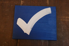 white check mark on blue - acrylic on canvas