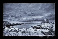 Seabright, Nova Scotia (Dave the Haligonian) Tags: ocean sea blackandwhite bw snow canada water clouds rocks novascotia atlantic maritime peggyscove seabright seabrightnovascotia dsc2815dng