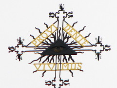 Cross of St. Catherina's church in Vilnius, Lithuania (Sergey Shpakovsky) Tags: church triangle cross lithuania vilnius eyeofgod allseeingeye lietuva kryzius eyeofprovidence baznycia eyeinthetriangle triangleeye eyeandtriangle