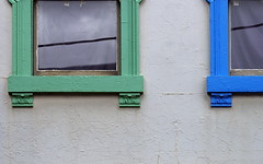 Blue underdog (A Different Perspective) Tags: blue newzealand detail green window wall wire paint collingwood pair australia melbourne victoria frame peel refelction adp:posted=2009