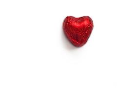 ~♥ Minimal Love ♥~ (Red Love Heart) (©Komatoes) Tags: red cute love photography 50mm photo nikon heart chocolate foil picture wrap valentine nikond50 minimal explore photograph kawaii valentines f18 onwhite valentinesday kawai 286 d40