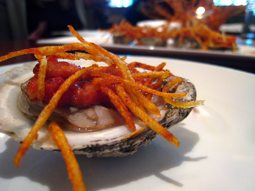 Oysters with Shrimp and Bacon- Also Crispy Bits
