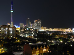 Looking East at downtown Toronto, at night (AmandaBux) Tags: toronto tower rooftop skyline cn